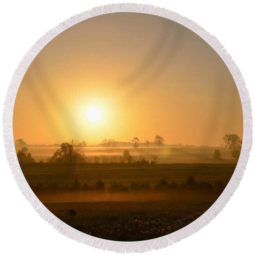 Spring Round Beach Towel featuring the photograph A Spring Morning At Gettysburg by Bill Cannon