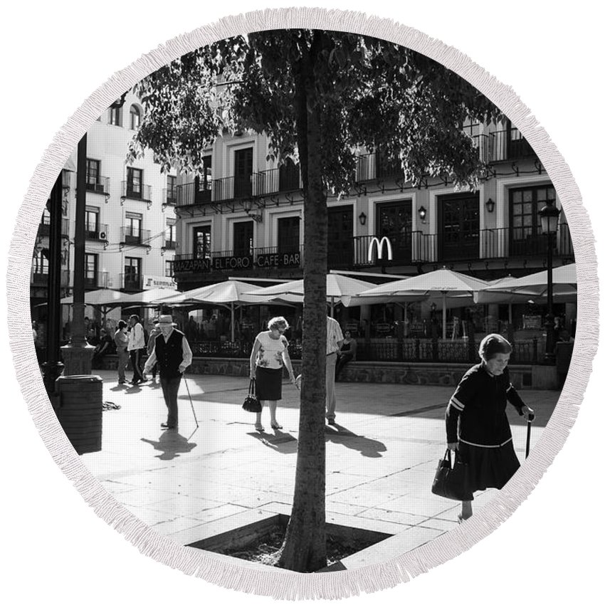 People Round Beach Towel featuring the photograph A Square In Toledo - Spain by Madeline Ellis