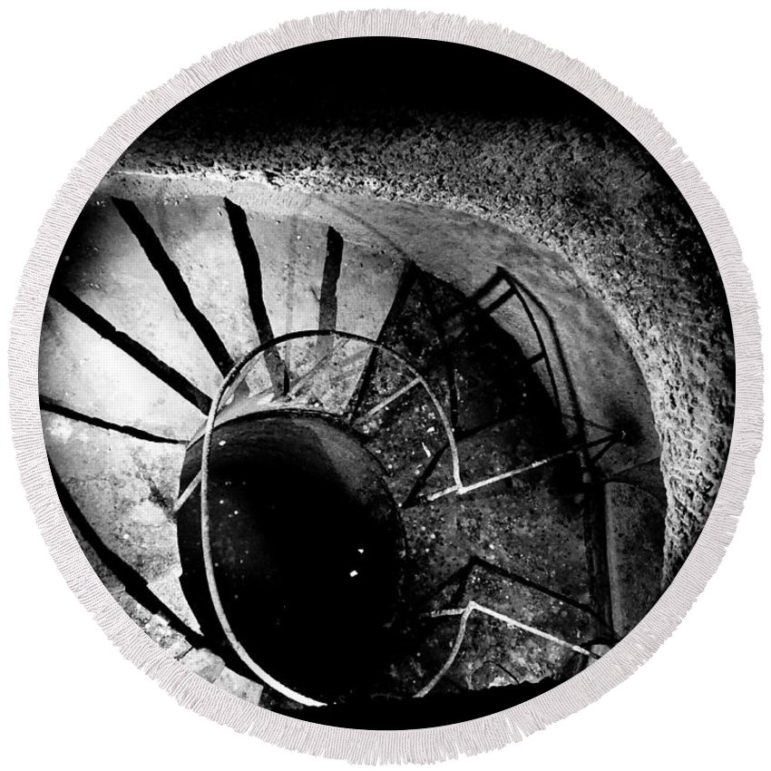 Paris Round Beach Towel featuring the photograph A Stairwell In The Catacombs Of Paris France by Richard Rosenshein
