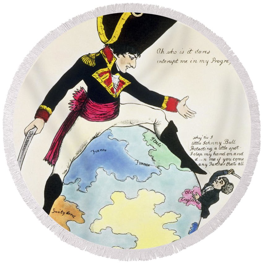 Napoleon Bonaparte Round Beach Towel featuring the photograph A Stoppage To A Stride Over The Globe, 1803 Litho by English School