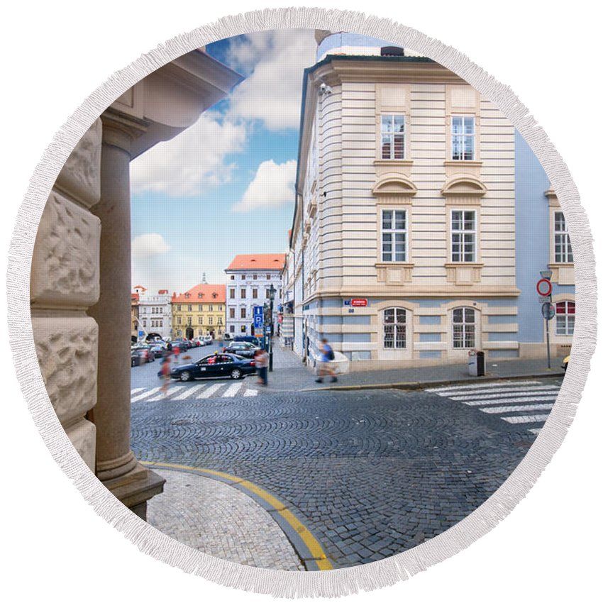 Old Round Beach Towel featuring the photograph A Street In Prague by Michal Bednarek
