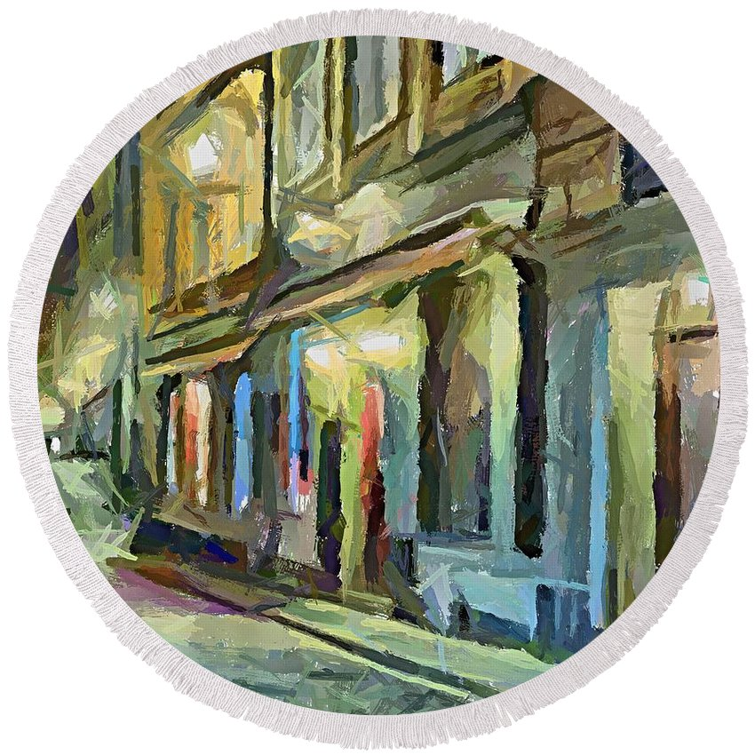 Cityscape Round Beach Towel featuring the painting A Street With The Local Inn by Dragica Micki Fortuna
