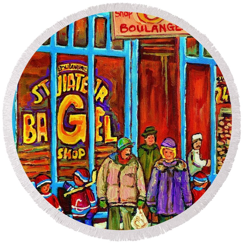 St.viateur Bagel Shop Round Beach Towel featuring the painting A Stroll After The Hockey Game St Viateur Bagel Montreal Winter Street Carole Spandau by Carole Spandau