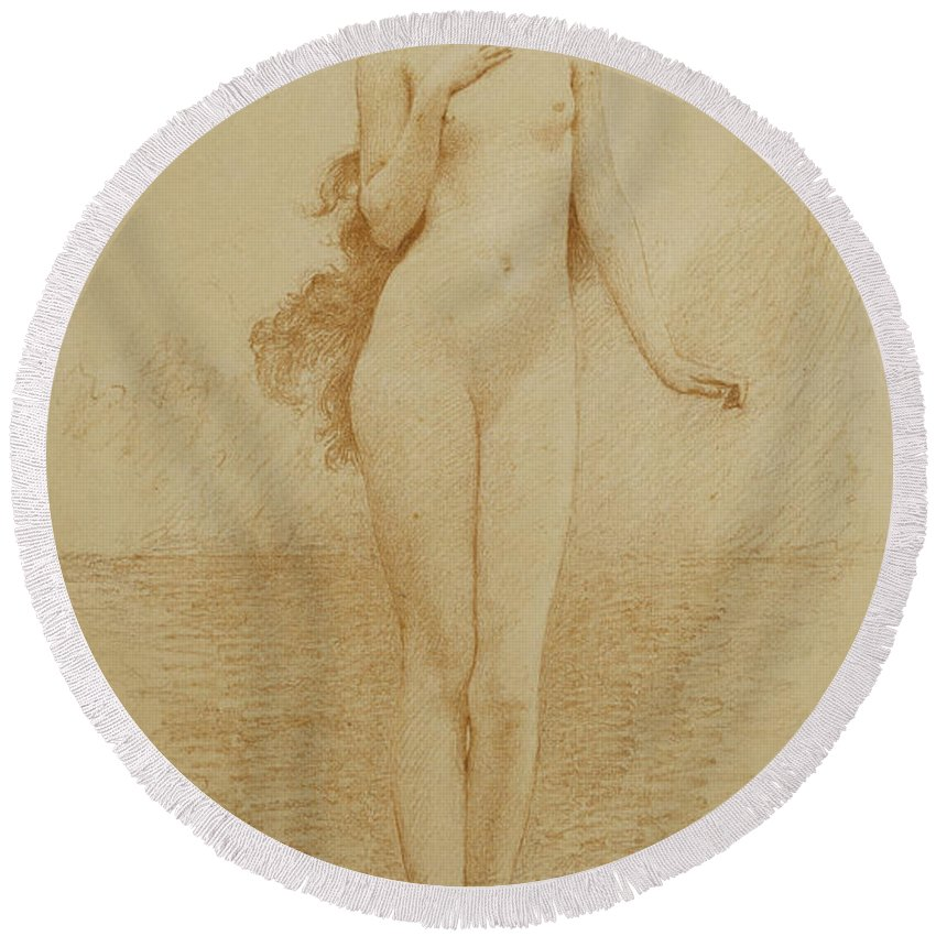 British Round Beach Towel featuring the drawing A Study For The Birth Of Love by Solomon Joseph Solomon