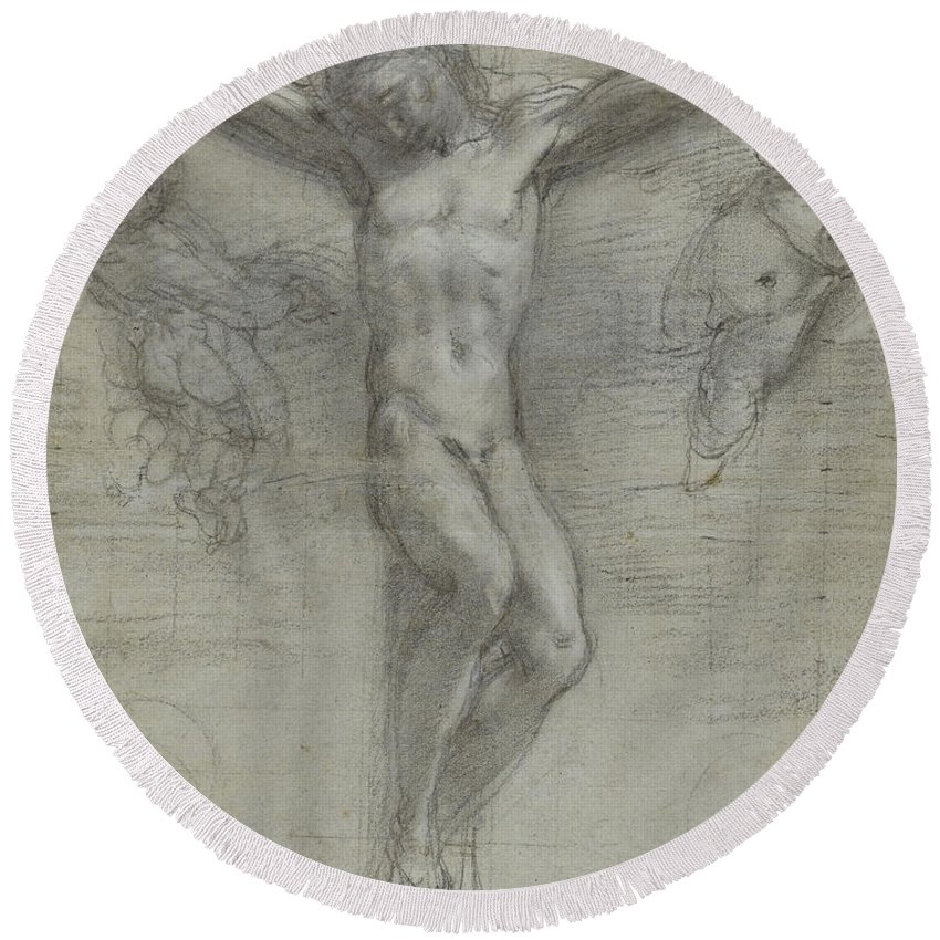 Jesus Christ Round Beach Towel featuring the drawing A Study Of Christ On The Cross With Two by Federico Fiori Barocci or Baroccio