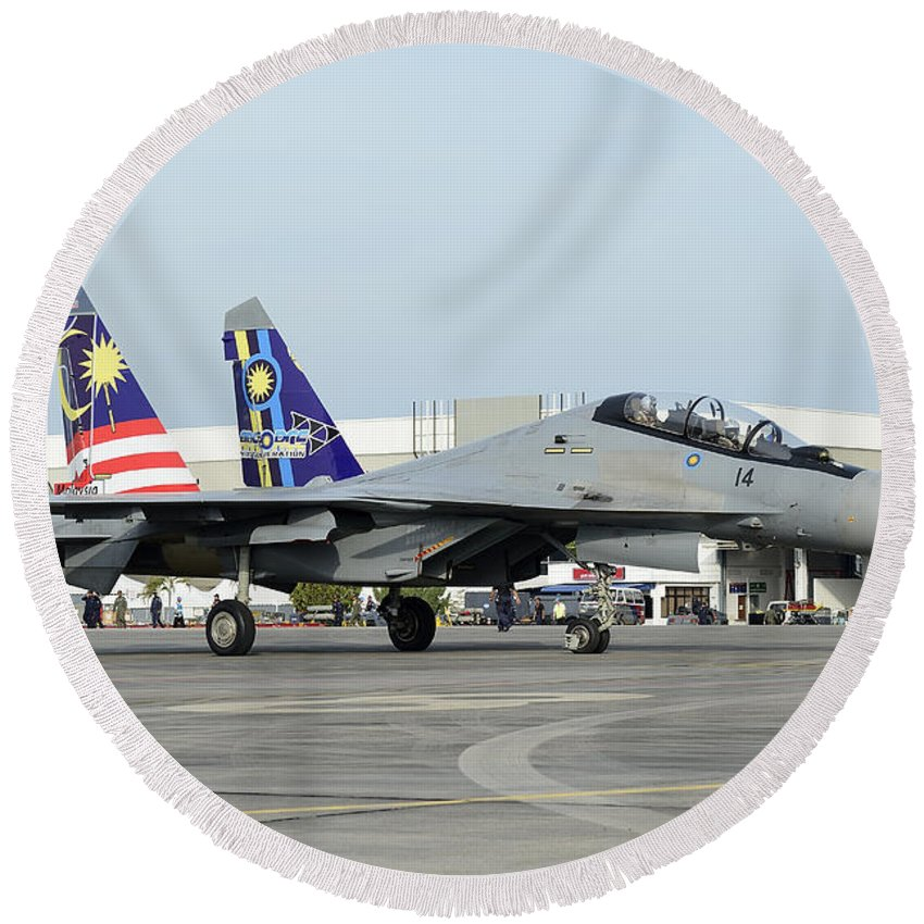 Horizontal Round Beach Towel featuring the photograph A Sukhoi Su-30 Of The Royal Malaysian by Remo Guidi