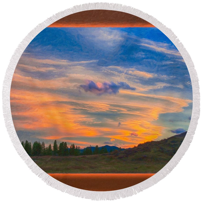 5x7 Round Beach Towel featuring the painting A Surprise Sunset Visit Landscape Painting by Omaste Witkowski