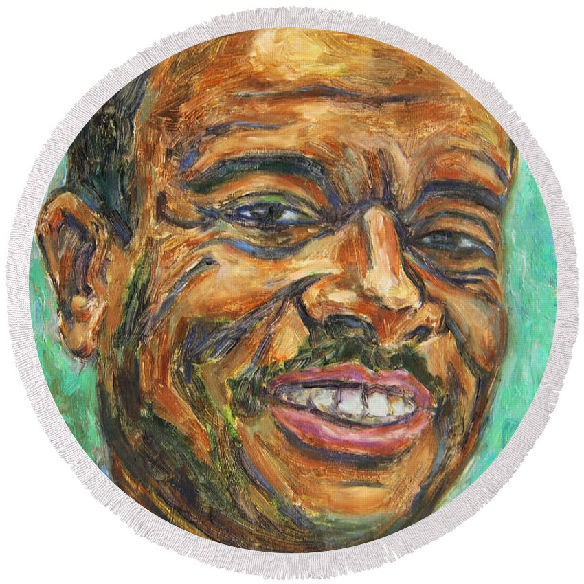 African American Round Beach Towel featuring the painting A Teacher From Atlanta Ga by Xueling Zou