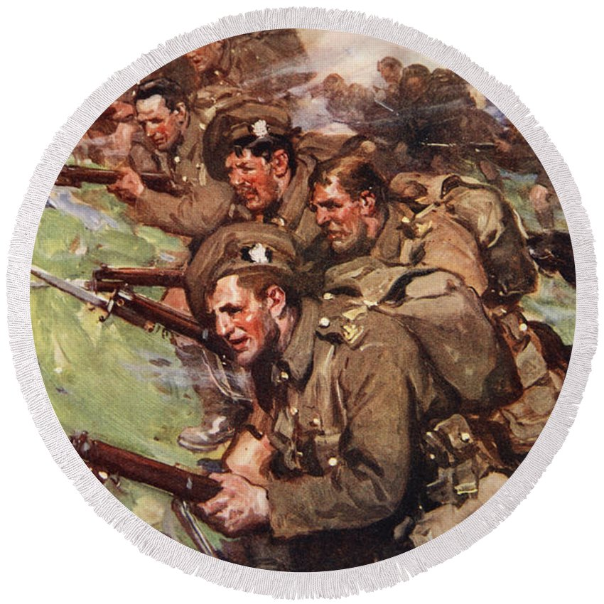 World War I Round Beach Towel featuring the drawing A Thrilling Charge, Illustration by Cyrus Cuneo