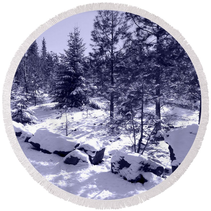 Snowy Round Beach Towel featuring the photograph A Touch Of Snow In Lavender by Carol Groenen