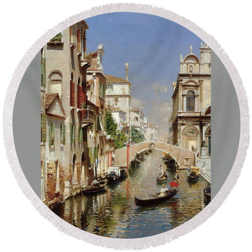 Rubens Santoro Round Beach Towel featuring the digital art A Venetian Canal by Rubens Santoro