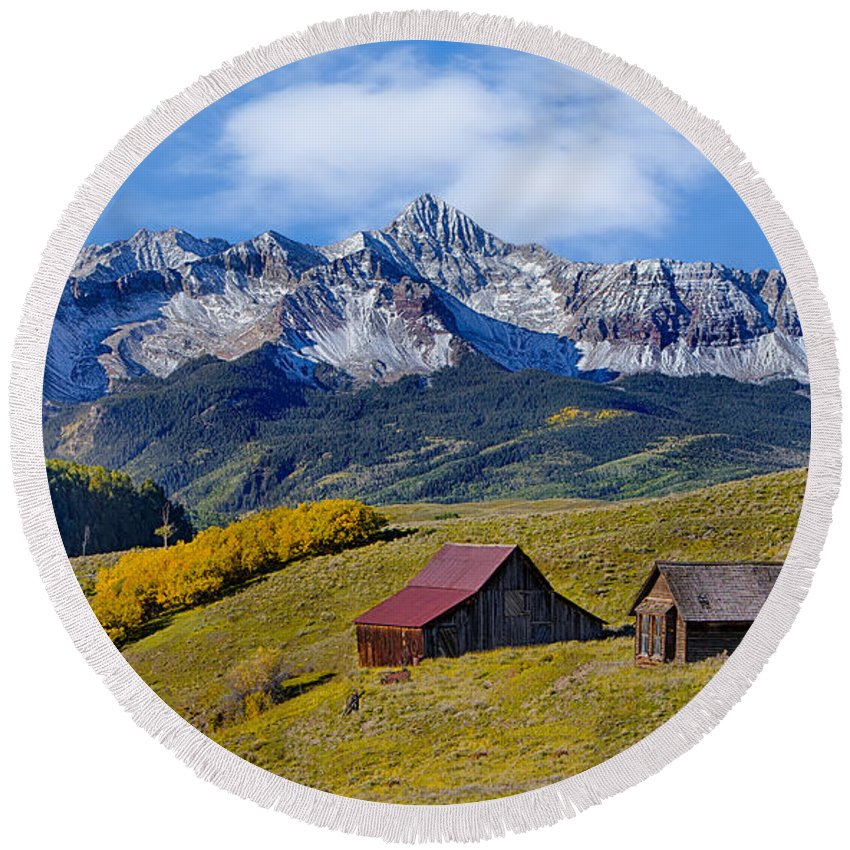 Colorado Round Beach Towel featuring the photograph A View From Last Dollar Road by Jerry Fornarotto
