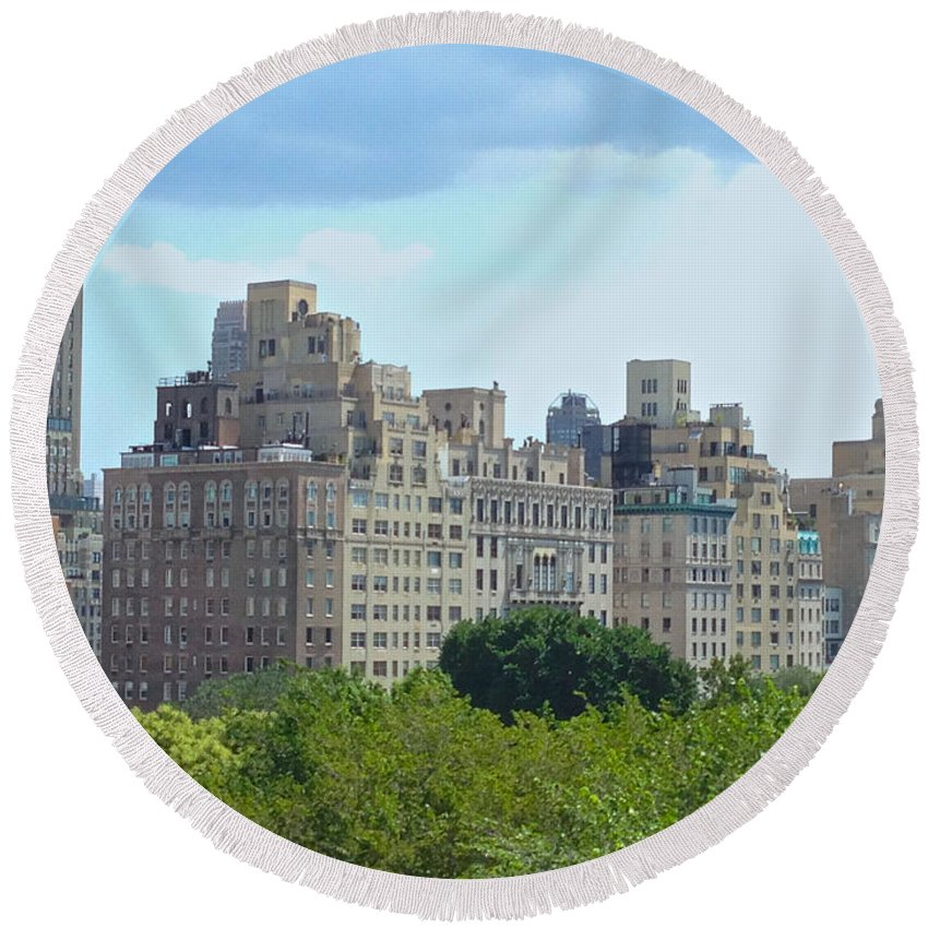 Met Round Beach Towel featuring the photograph A View From The Met by Christy Gendalia