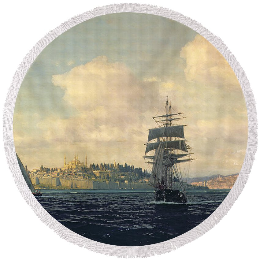 Boat Round Beach Towel featuring the painting A View Of Constantinople by Michael Zeno Diemer