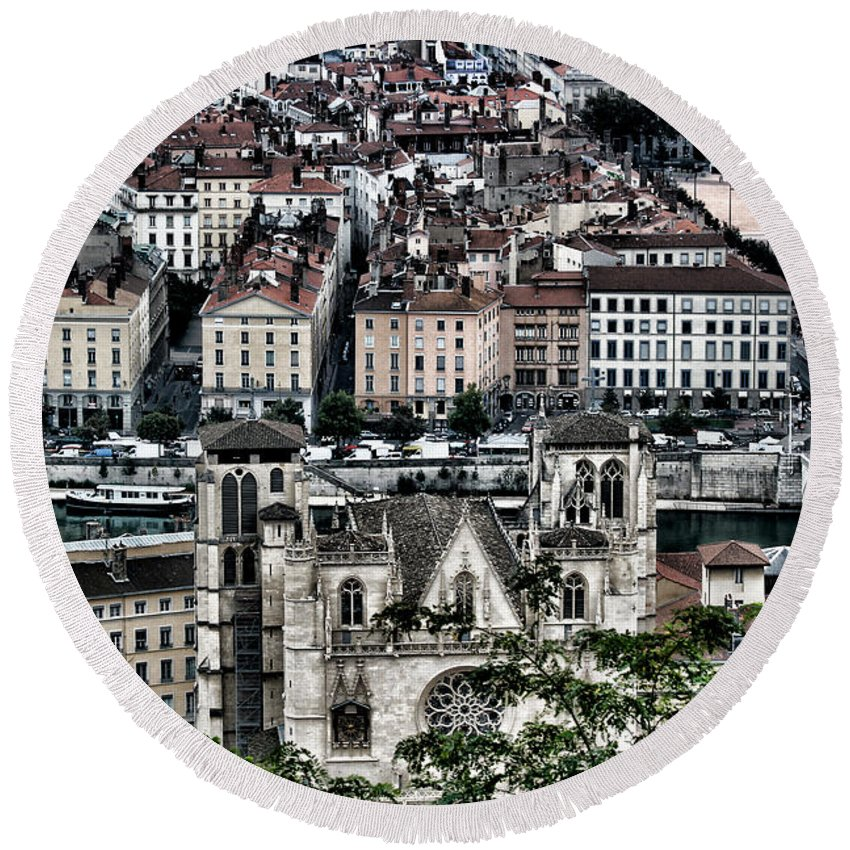 Europe Round Beach Towel featuring the photograph A View Of Vienne France by Tom Prendergast