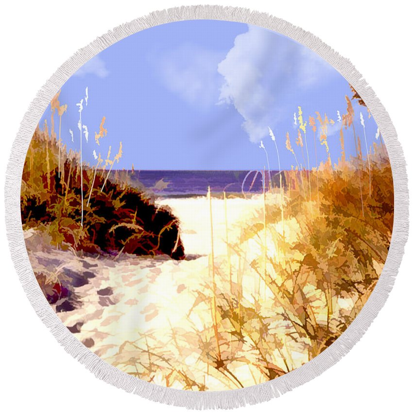 Ocean Round Beach Towel featuring the painting A View Through The Dunes To The Ocean by Elaine Plesser