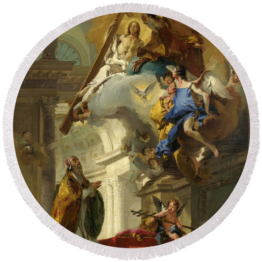 Giovanni Battista Tiepolo Round Beach Towel featuring the painting A Vision Of The Trinity by Giovanni Battista Tiepolo