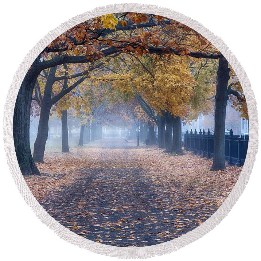 Limited Time Promotions Round Beach Towel featuring the photograph A Walk In Salem Fog by Jeff Folger