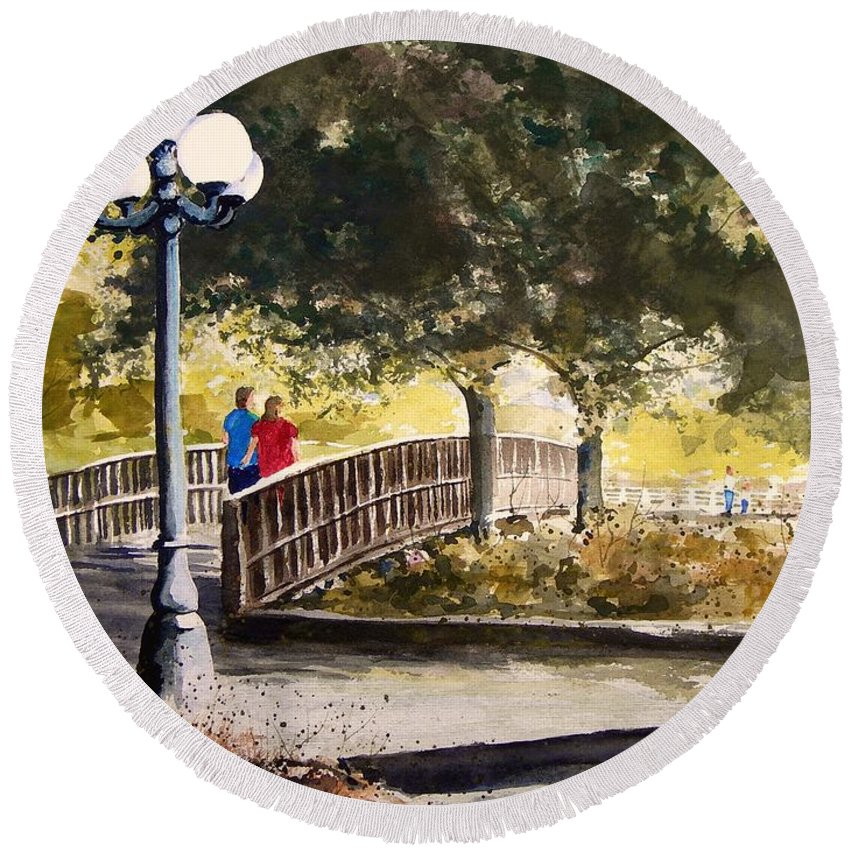 Park Round Beach Towel featuring the painting A Walk In The Park by Sam Sidders