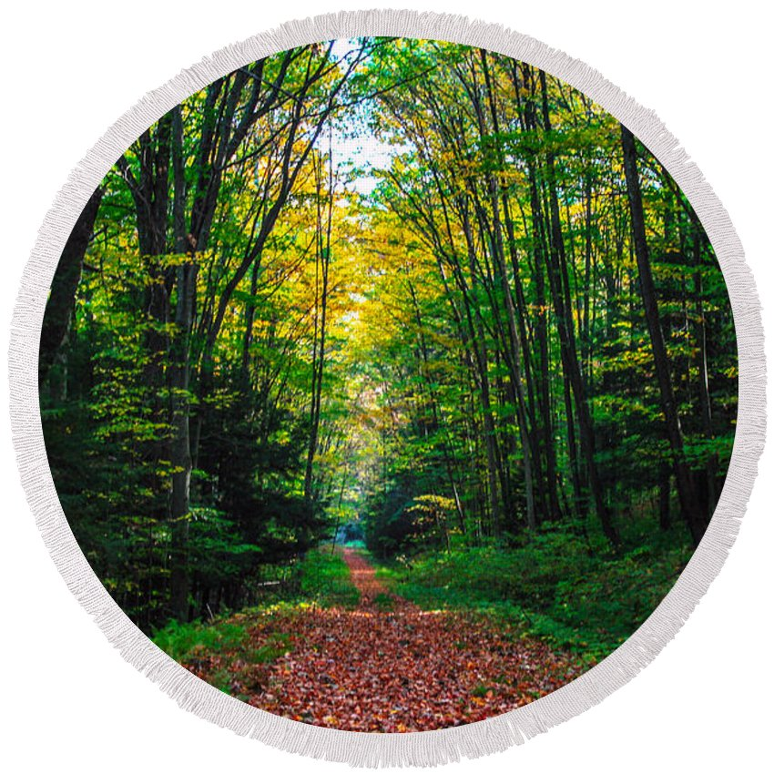 Path Round Beach Towel featuring the photograph A Walk In The Woods by John Hannan