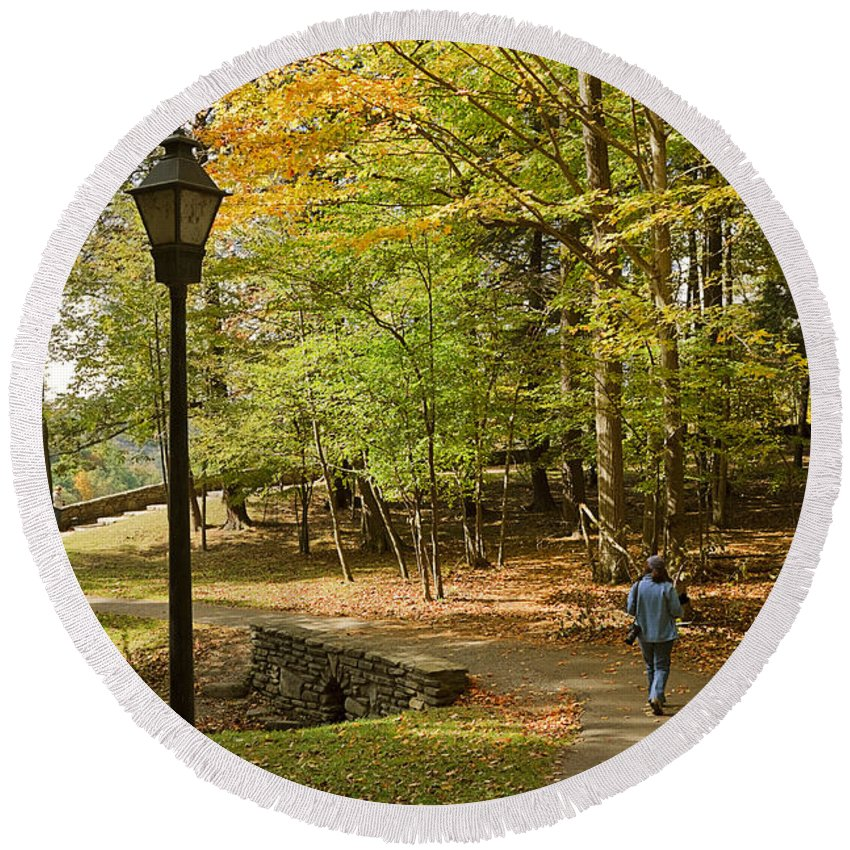 Landscape Round Beach Towel featuring the photograph A Walk In The Woods by Louise Heusinkveld