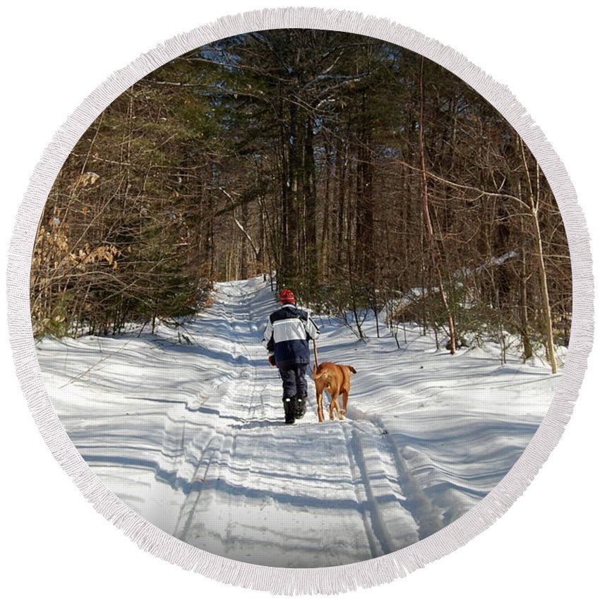 Nh Round Beach Towel featuring the photograph A Walk In The Woods by Mim White