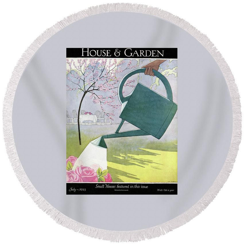 House And Garden Round Beach Towel featuring the photograph A Watering Can Above Pink Roses by Andre E Marty