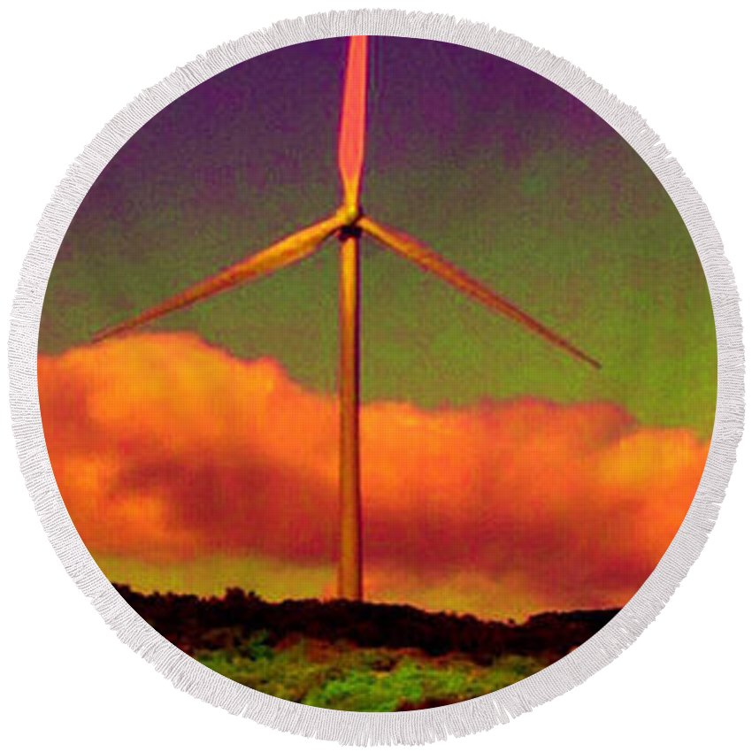 Round Beach Towel featuring the photograph A Western Windmill by Angela L Walker