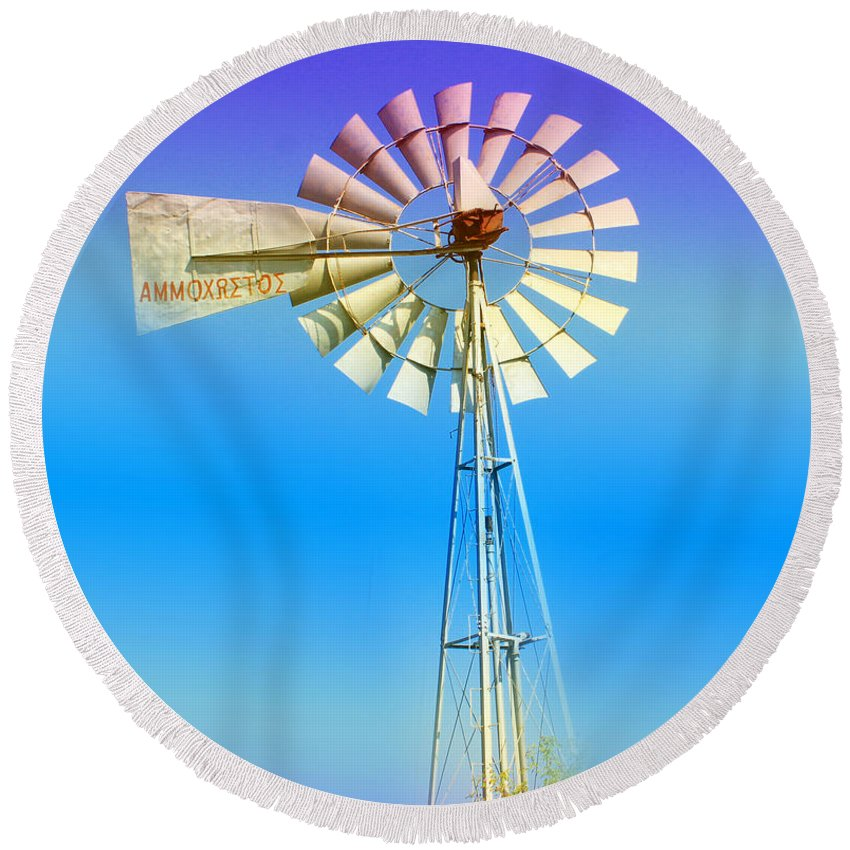 Augusta Stylianou Round Beach Towel featuring the photograph Famagusta Windmill by Augusta Stylianou