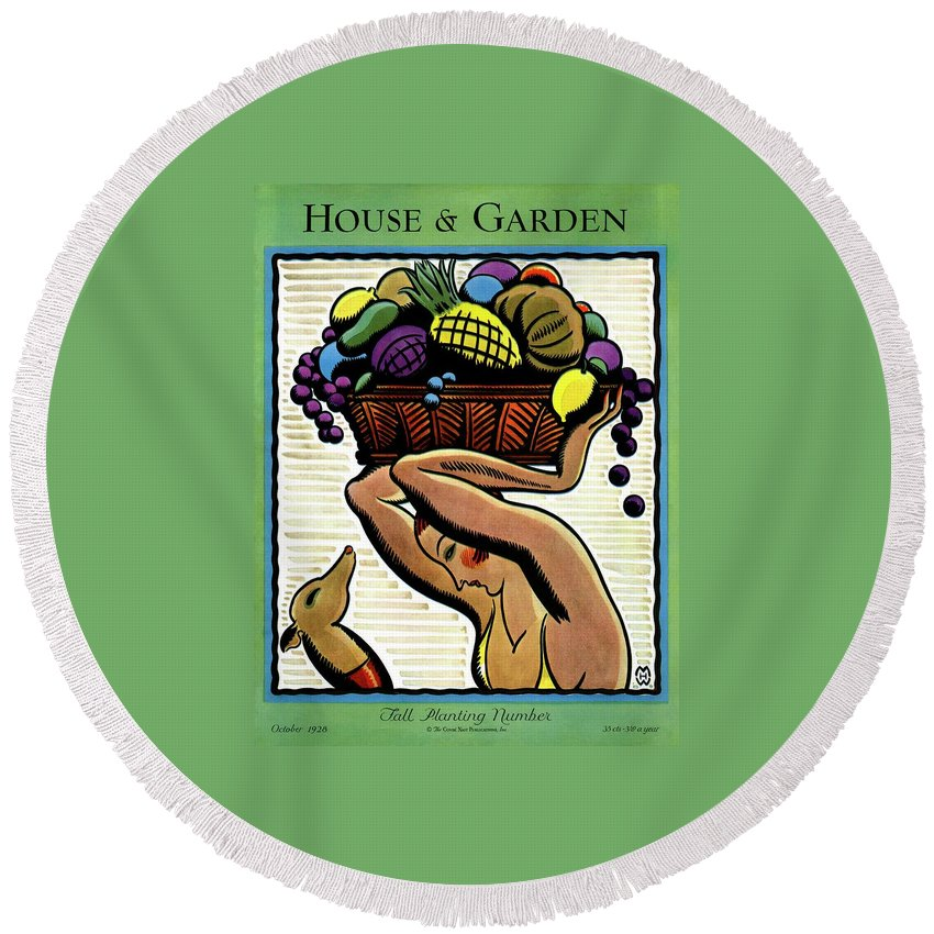 House And Garden Round Beach Towel featuring the photograph A Woman Holding A Basket Of Fruit by Marion Wildman