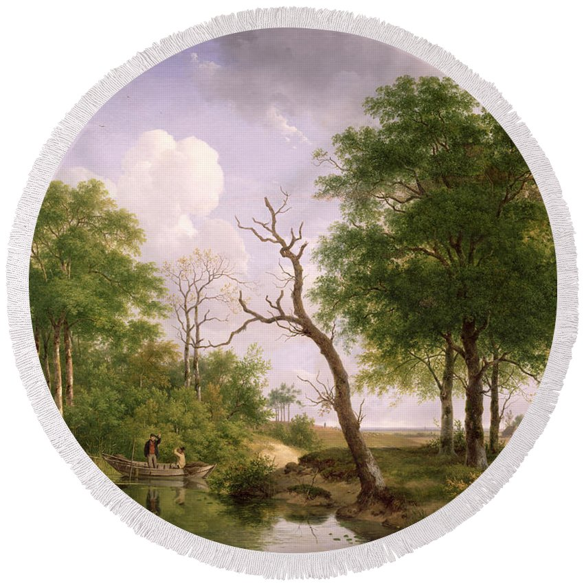 Drinking Round Beach Towel featuring the painting A Wooded River Landscape With Sportsmen In A Rowing Boat by Andreas Schelfhout