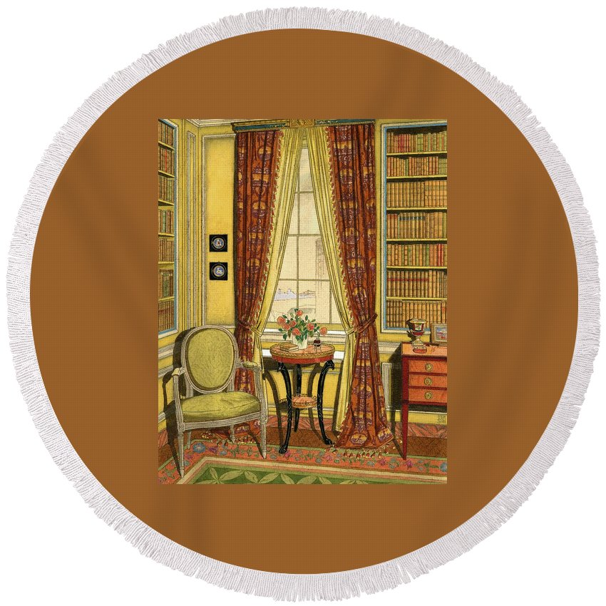 Illustration Round Beach Towel featuring the digital art A Yellow Library With A Vase Of Flowers by Harry Richardson
