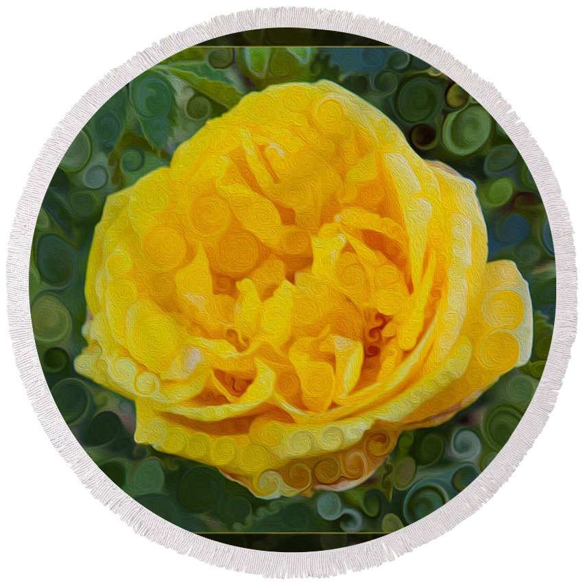 A Yellow Rose Abstract Painting Round Beach Towel featuring the painting A Yellow Rose Abstract Painting by Omaste Witkowski