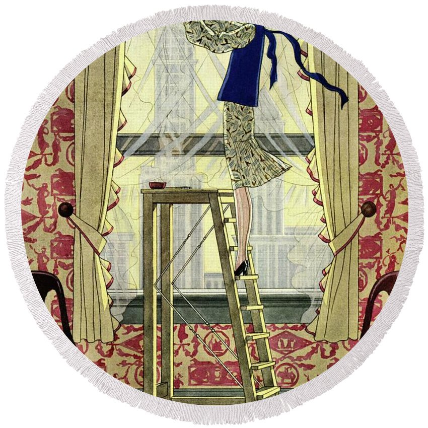 House And Garden Round Beach Towel featuring the photograph A Young Matron Adjusting Curtains by Pierre Mourgue