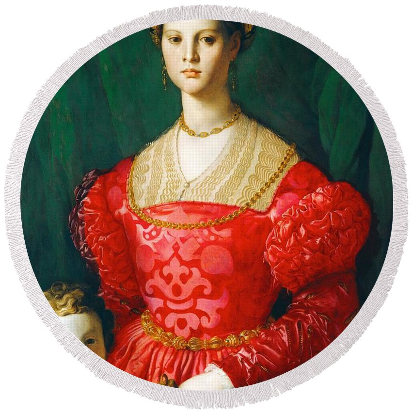 1540 Round Beach Towel featuring the painting A Young Woman And Her Little Boy by Agnolo Bronzino