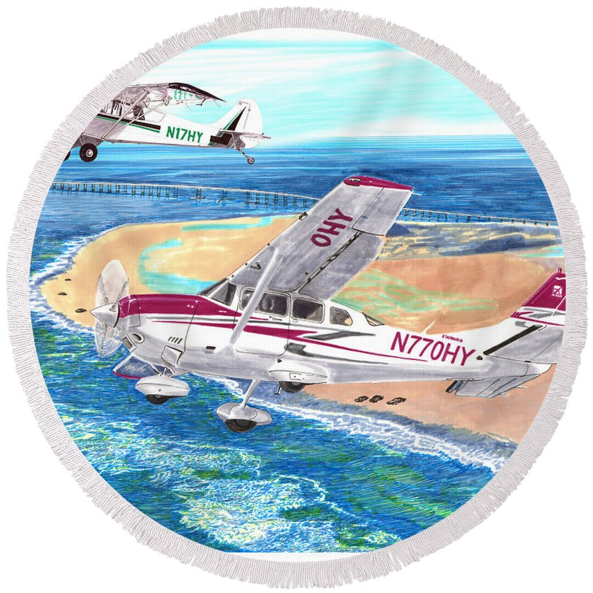 Watercolor Painting Of 2007 Cessna 206 And A1a Aviat Husky By Jack Pumphrey Round Beach Towel featuring the painting Cessna 206 And A1a Husky by Jack Pumphrey