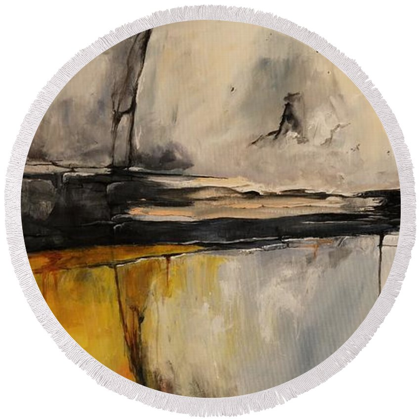 Abstract Round Beach Towel featuring the painting Ab06us by Emerico Imre Toth