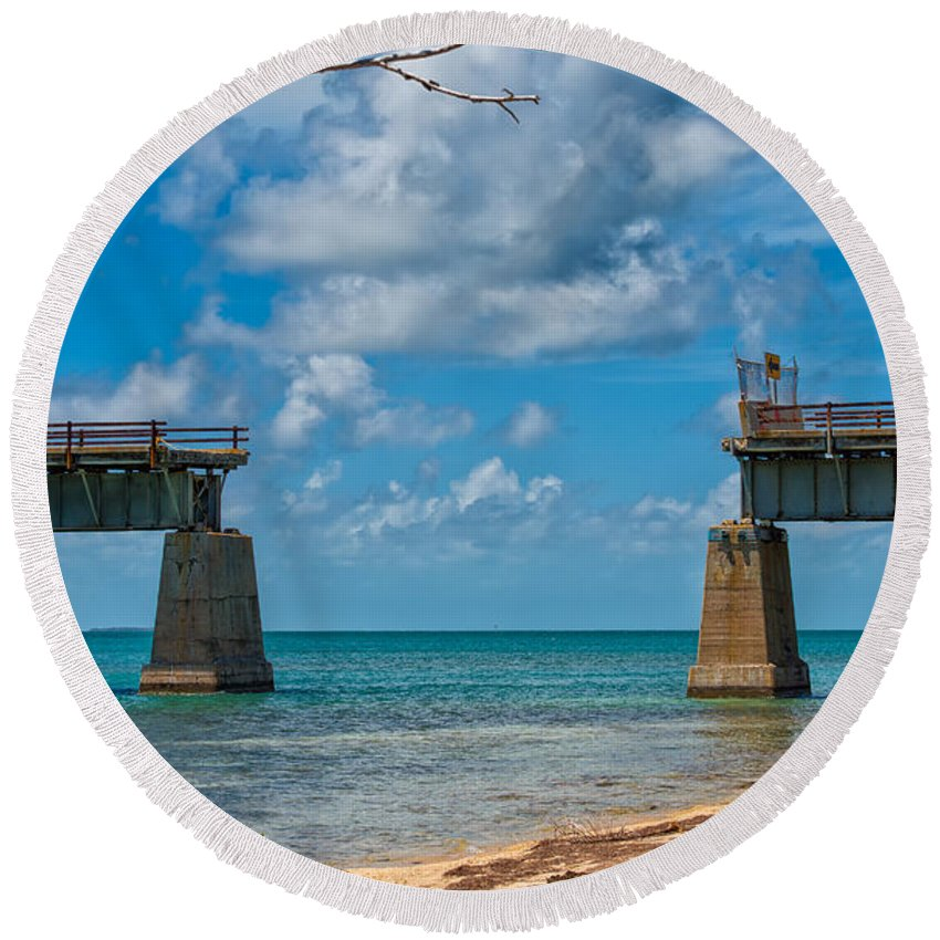 Architecture Round Beach Towel featuring the photograph Abandoned Bridge by John M Bailey