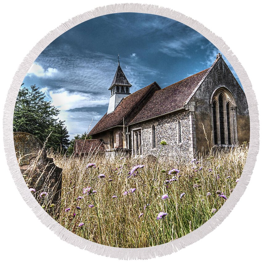 Church Round Beach Towel featuring the photograph Abandoned Grave In The Churchyard by Gill Billington