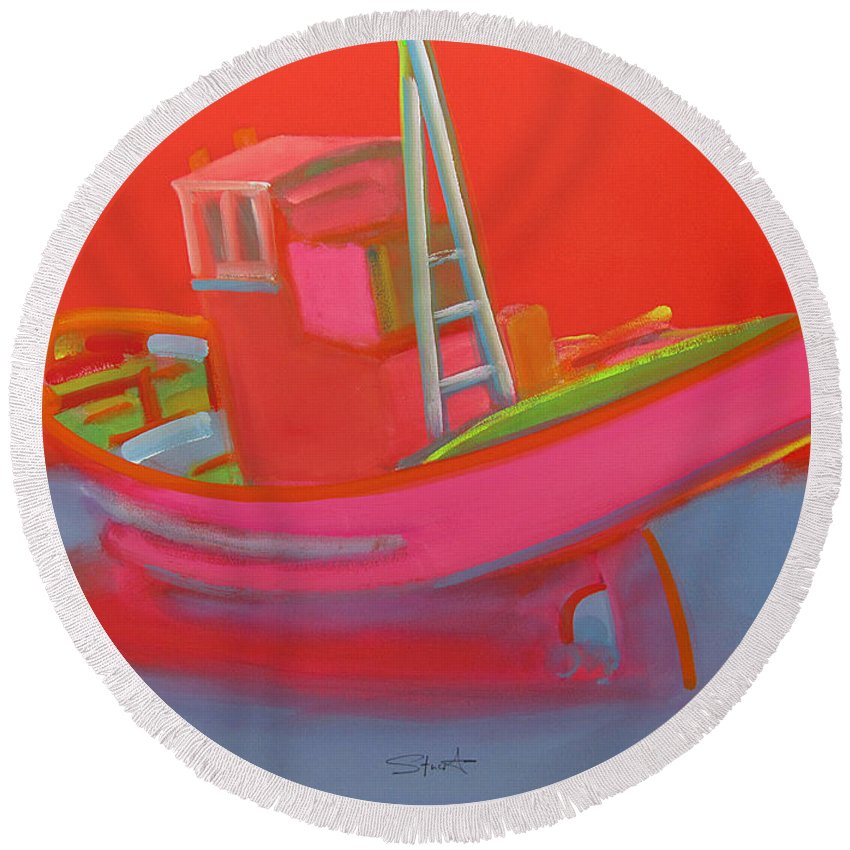 Fishing Round Beach Towel featuring the painting Abandoned Red Fishing Trawler by Charles Stuart