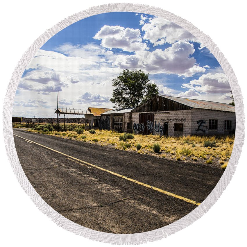 Route 66 Round Beach Towel featuring the photograph Abandoned Rest Stop by Angus Hooper Iii