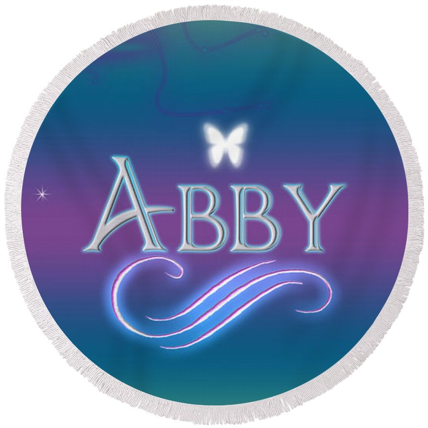 cce43b7b50e2b Abby Round Beach Towel featuring the digital art Abby Name Art by Becca  Buecher
