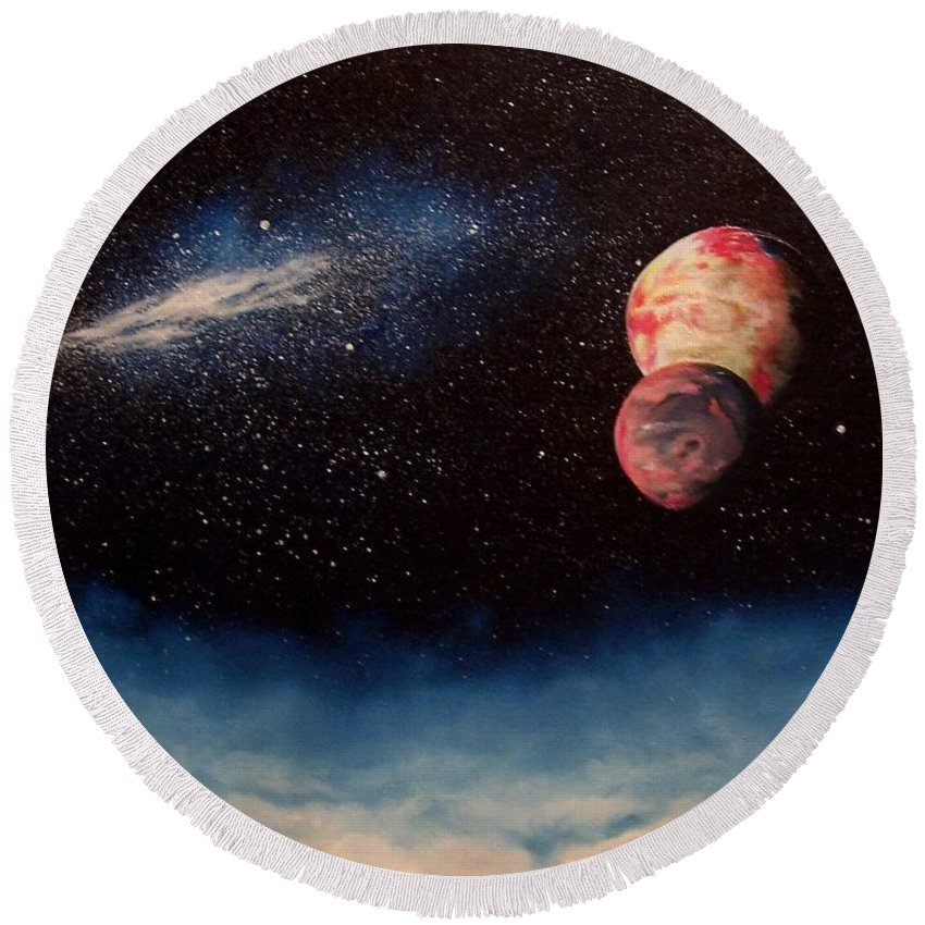 Landscape Round Beach Towel featuring the painting Above Alien Clouds by Murphy Elliott