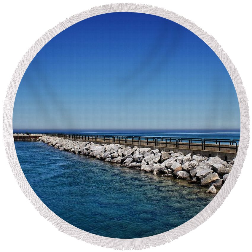 Charlevoix South Pier Lighthouse Round Beach Towel featuring the photograph Above And Below by Chris Fleming