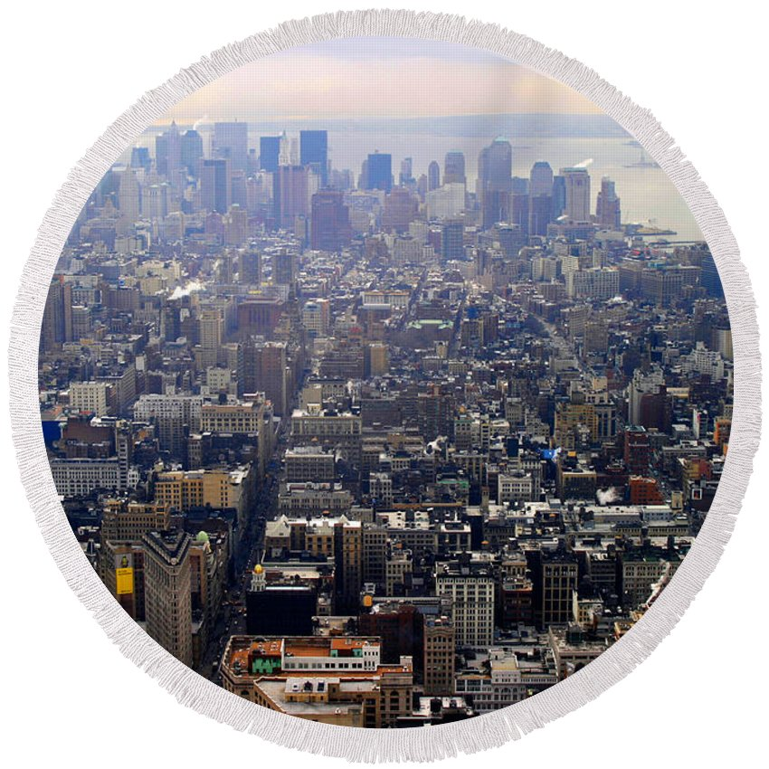 New York Round Beach Towel featuring the photograph Above New York by Christopher Rees