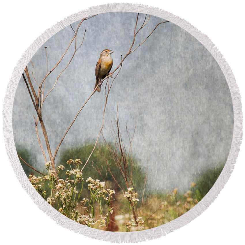 Dickcissel Round Beach Towel featuring the photograph Above The Prairie II by Dale Kincaid
