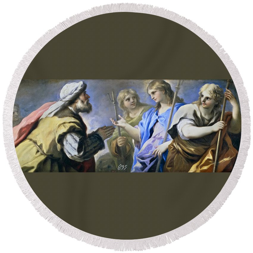Luca Giordano Round Beach Towel featuring the painting Abraham And The Three Angels by Luca Giordano