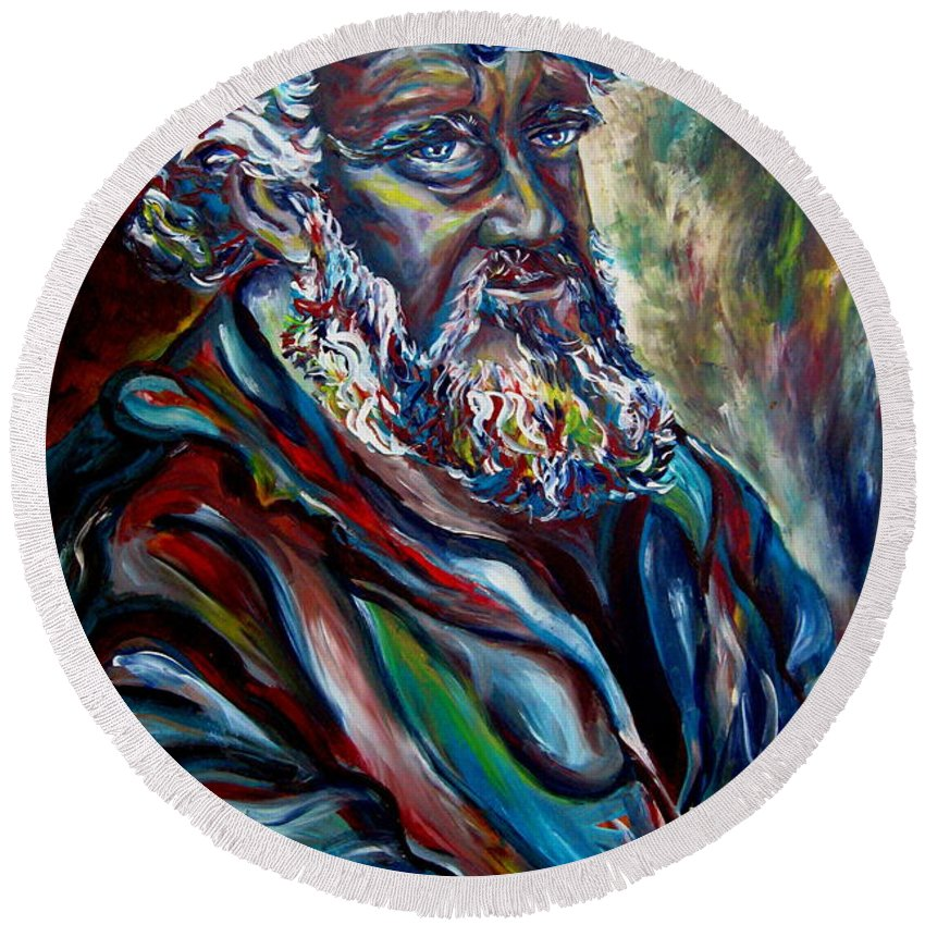 Abraham Patriarh Round Beach Towel featuring the painting Abraham Patriarch by Carole Spandau