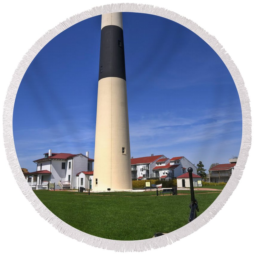 Lighthouse Round Beach Towel featuring the photograph Absecon Lighthouse by Anthony Sacco