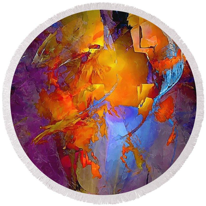 Graphics Round Beach Towel featuring the digital art Abstract 0373 - Marucii by Marek Lutek